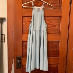 High Strap Chambray Dress
